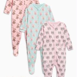 アニマル柄スリープスーツ3枚セット(0~24か月) ピンク / ターコイズ