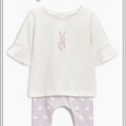 ウサギ柄 3 点セット (0~24か月)  ライラック