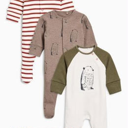 熊柄スリープスーツ 3枚セット(0~24か月) ベージュ