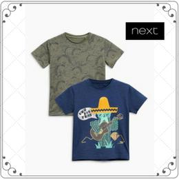 ボテン&恐竜柄 半袖 Tシャツ  2枚セット  (2~6歳)