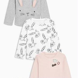 ウサギ柄トップ3枚セット (2~6歳) ピンク / グレー