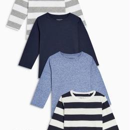 長袖 Tシャツ 4 枚セット(3 か月~24か月) ブルー