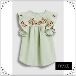 刺繍ワンピース (3か月~6歳)  グリーン