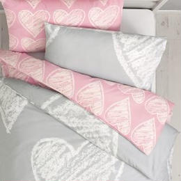 ピンク & グレー ハート柄ベッドリネン 掛×枕カバー 2 セット