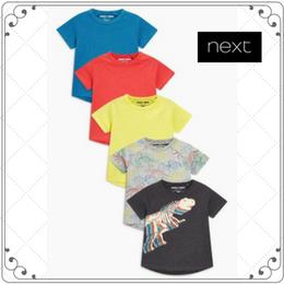 Tシャツ 5枚セット  (2~6歳) レッドブルーイエロー恐竜