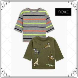 アニマル刺しゅう入り 長袖 Tシャツ 2枚セット  (2~6歳)