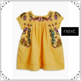 刺繍ワンピース (3か月~6歳)  イエロー