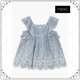 ストライプティッキング飾り付きドレス (0~24か月)