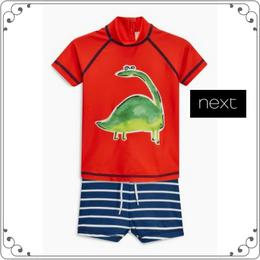 恐竜柄 スイムスーツ 上下セット (3か月~5歳)  オレンジ