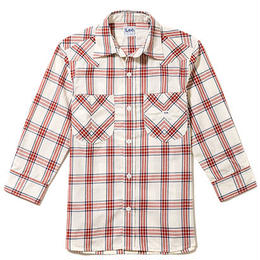 【Lee】MENS WESTERN CHECK SHIRTS(Red)/メンズ ウエスタン チェック 七分袖シャツ(レッド)