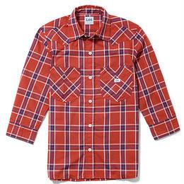【Lee】MENS WESTERN CHECK SHIRTS(Red×Navy)/メンズ ウエスタン チェック 七分袖シャツ(レッド×ネイビー)