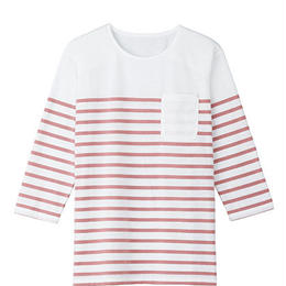 【Natural Smaile】UNISEX BORDER CUT(Pink)/ユニセックス ボーダーカットソー(ピンク)