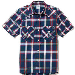 【Lee】MENS WESTERN CHECK SHIRTS(Navy×White)/メンズ ウエスタン チェック 半袖シャツ(ネイビー×ホワイト)