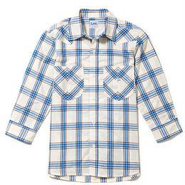 【Lee】LADIES WESTERN CHECK SHIRTS(Blue)/レディース ウエスタン チェック 七分袖シャツ(ブルー)