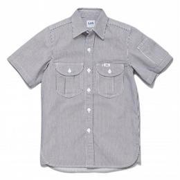 【Lee】MENS WORK SHIRTS(White×Blue)/メンズ ワーク半袖シャツ(ホワイト×ブルー)