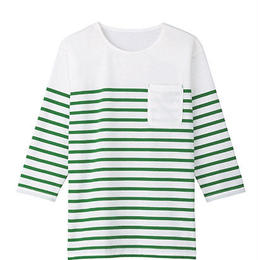 【Natural Smaile】UNISEX BORDER CUT(Green)/ユニセックス ボーダーカットソー(グリーン)