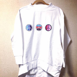 "18ss iSOLATED ARTS""Peace""Over Size Mock Sweat  - WHITE"