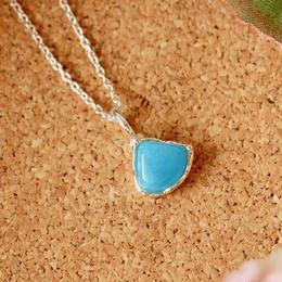 天然ヘミモルファイト純銀(SV1000)ネックレス2.40ct☆原石から磨いた1点もの