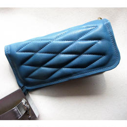 ALL Cow Hide Padded Wallet Turquise Leather×Blue gray Stitch