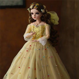 60cm 1/3 サイズ イエロードレス プリンセス かわいい女の子 球体関節人形 BJD カスタムドール リアルドール A1307