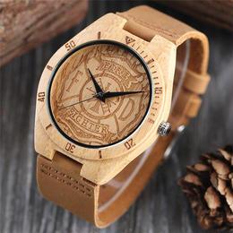 消防士 ファイヤーファイター ロゴ彫刻 木製 腕時計 消防士や消防士好きへのプレゼントに最適♪ A1333