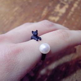 【simmon】 ネコのリング ブラック