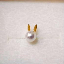 【KOMI】Rabbit 片耳ピアス K18 アコヤパール