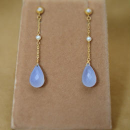Blue Chalcedony Line Earrings