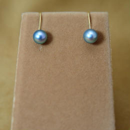 AkoyaPearl(Blue) Simple Earrings