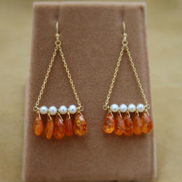 Orange Garnet Chandelier Earrings