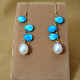 Arizona Turquoise&F.W.Pearl Earrings