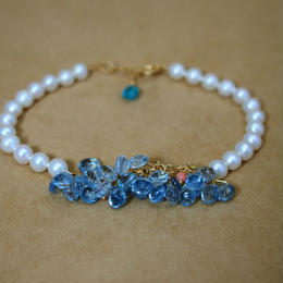 Aquamarine&Coral Prism Bracelet