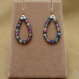 Multi Sapphire Drop Hoop Earrings