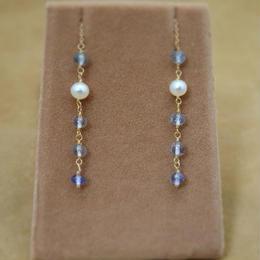 Sapphire&F.W.Pearl Chain Earrings(r/c)