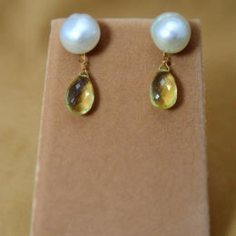 SouthSeaPearl Charm Earrings(LemonQuartz)