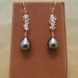 Tahitian Pearl&Diamond Quartz Earrings