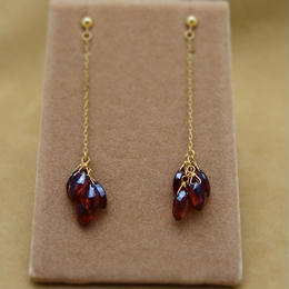 Garnet Line Earrings(m/q)