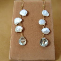 Green Amethyst&F.W.Pearl Earrings