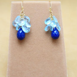 BlueTopaz&Lapis Chapeau Earrings