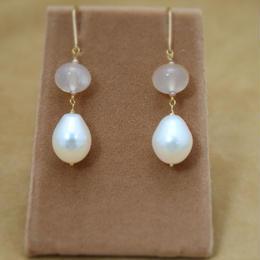 Pink Chalcedomy&F.W.Pearl Earrings