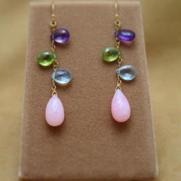 PinkOpal&ColorStone Design Earrings