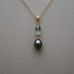 Green Amethyst&Tahitian Pearl Pendant Top(+Diamond)