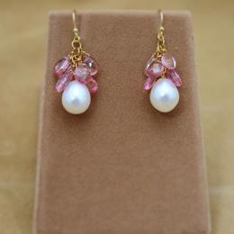 PinkTopaz&F.W.Pearl Chapeau Earrings