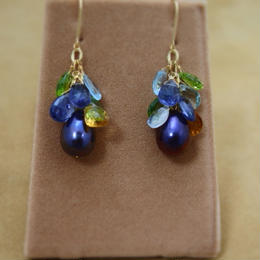 Color Stone&F.W.Pearl Chapeau Earrings