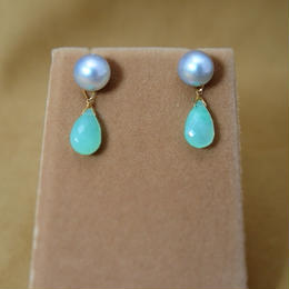 AKOYA Pearl&Chrysoprase Charm Earrings