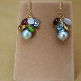 Tahitian Pearl&ColorStone Chapeau Earrings