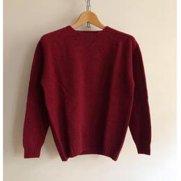 Harley of Scotland Crew Neck Shetlan Sweater Red Hot