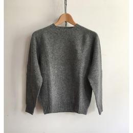 Harley of Scotland Crew Neck Shetland Sweater Med Grey
