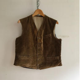 40's  Animal Buttons Corduroy Hunting Waistcoat