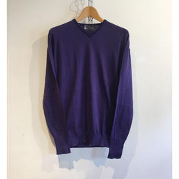 "JOHN SMEDLEY ""IMPERFECT RORE Pullover"" Purple Sea Island Cotton"